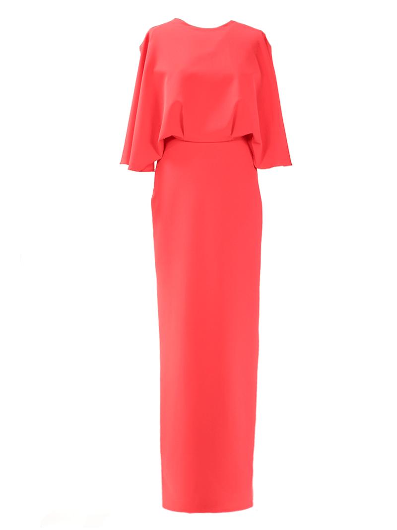 83f11d34994568 Lange jurk met een heel wijd bovenstuk en een rechte rok