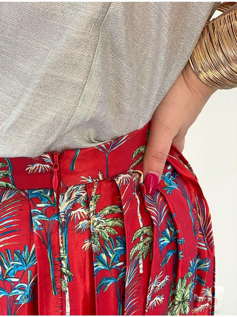 Jupe plissée à motifs - Rouge