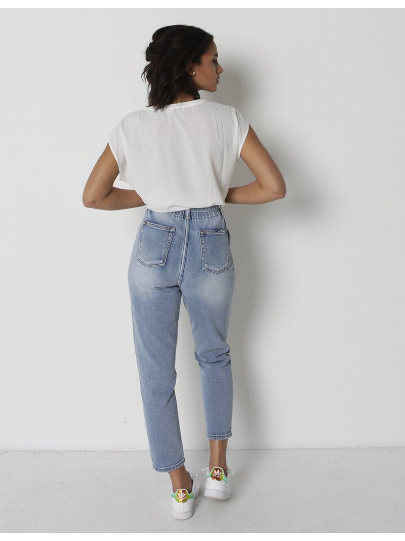 Mum jeans avec ceinture à nouer - bleu jeans
