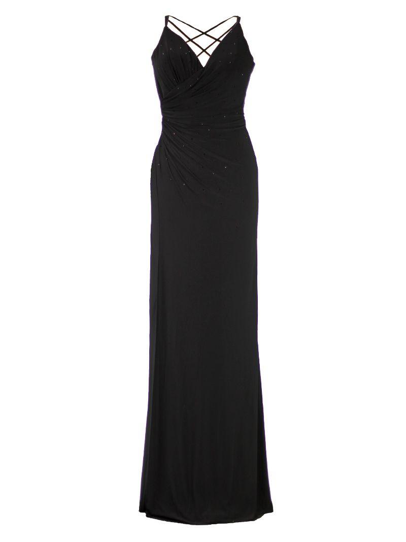 a596f7651418e2 Lange rechte jurk met strassteentjes en gekruiste rug.