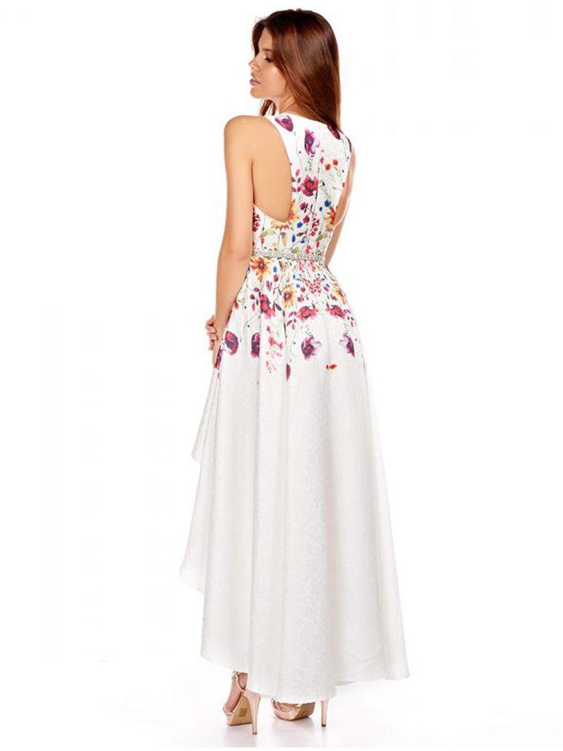 Robe courte devant longue derrière avec un motif fleuri