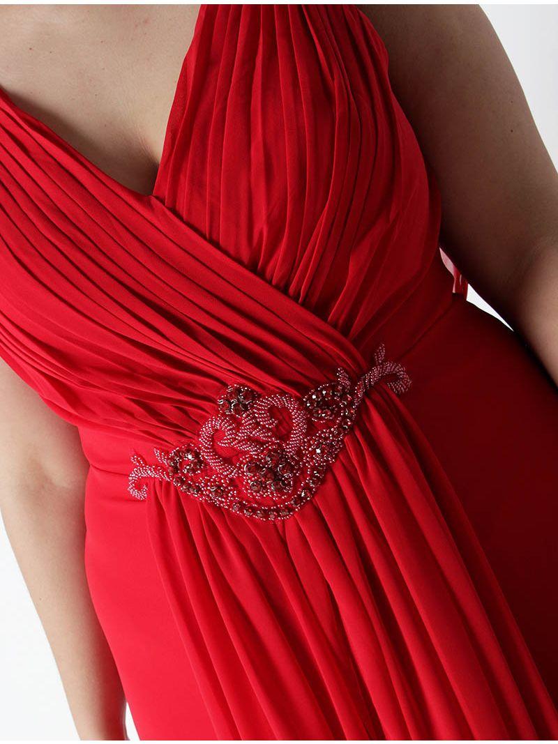 Robe de soirée longue avec strass - rouge