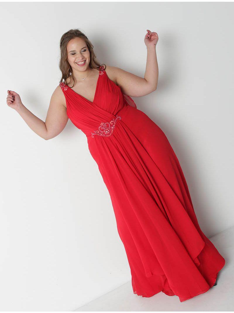c6bb30df46f48 Robe de soirée longue avec strass - rouge