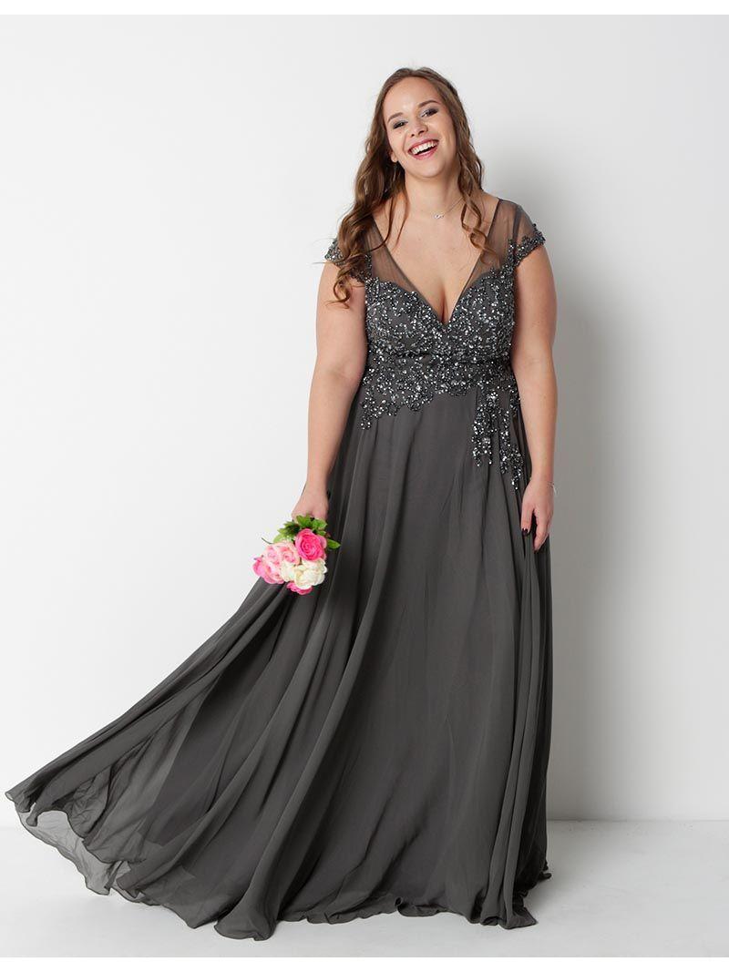 nouveau concept d26cd 56685 Robe de soirée longue voile et perles - gris | Anne Sophie