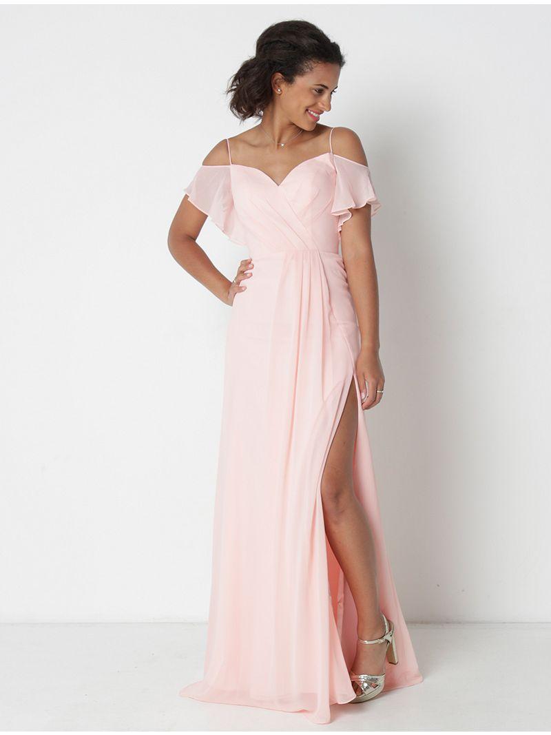 Beste Lange jurk in sluier - licht roze   Anne Sophie KI-19