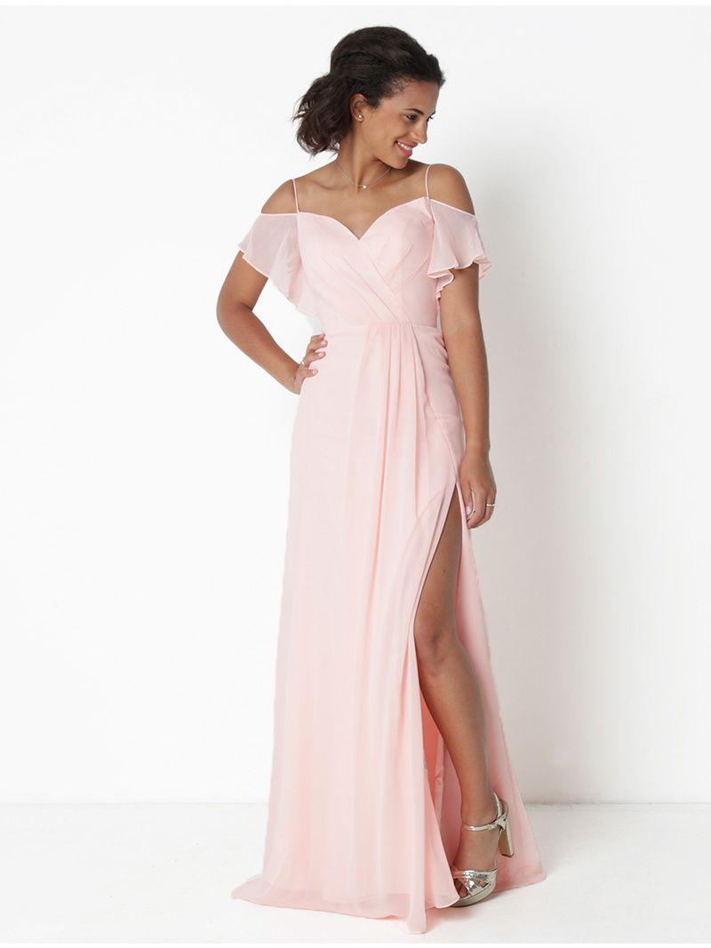 usine authentique 2d9d8 84c04 Robe longue en voile - rose pâle