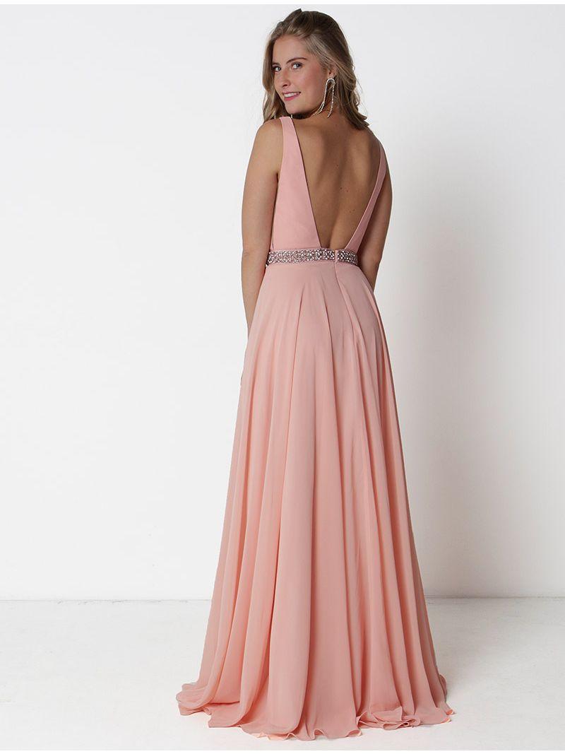 Robe de soirée longue décolleté plongeant et strass - rose pâle