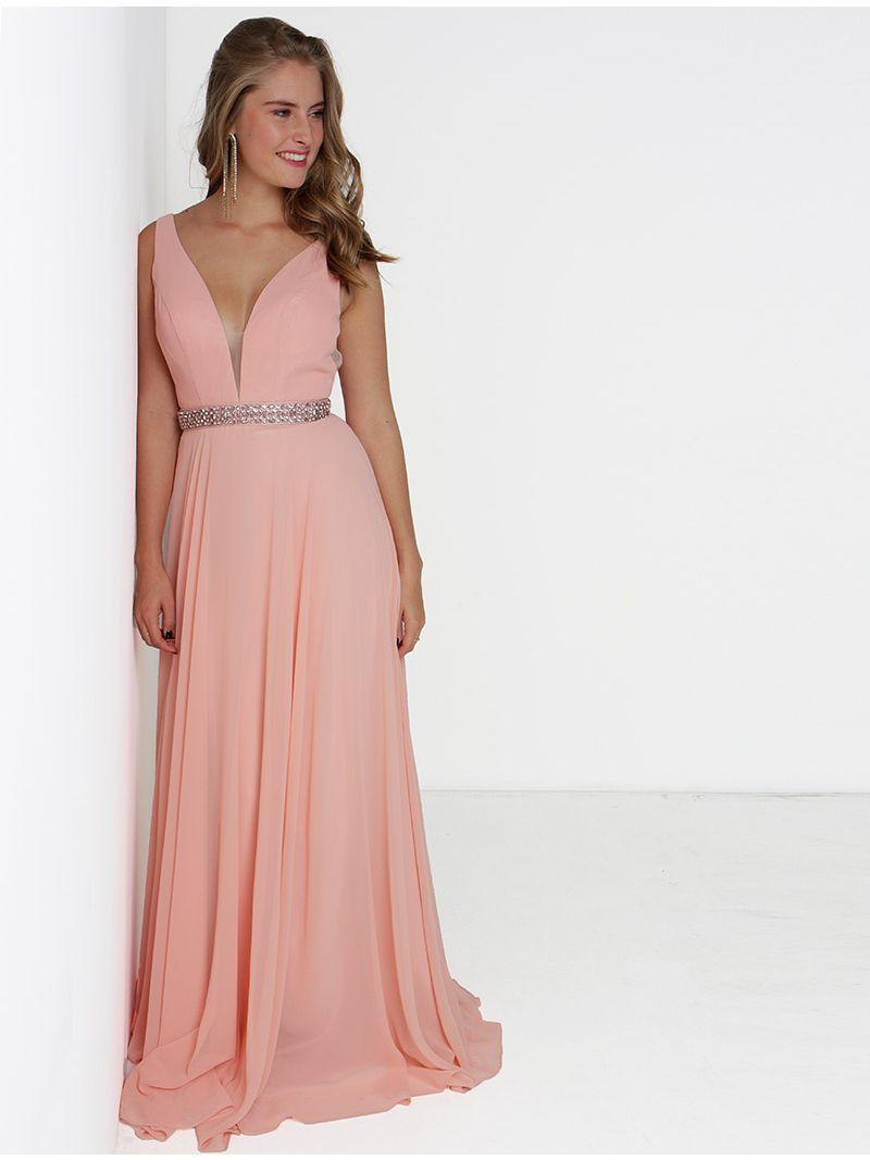 énorme inventaire recherche de véritables grande variété de styles Robe de soirée longue décolleté plongeant et strass - rose pâle