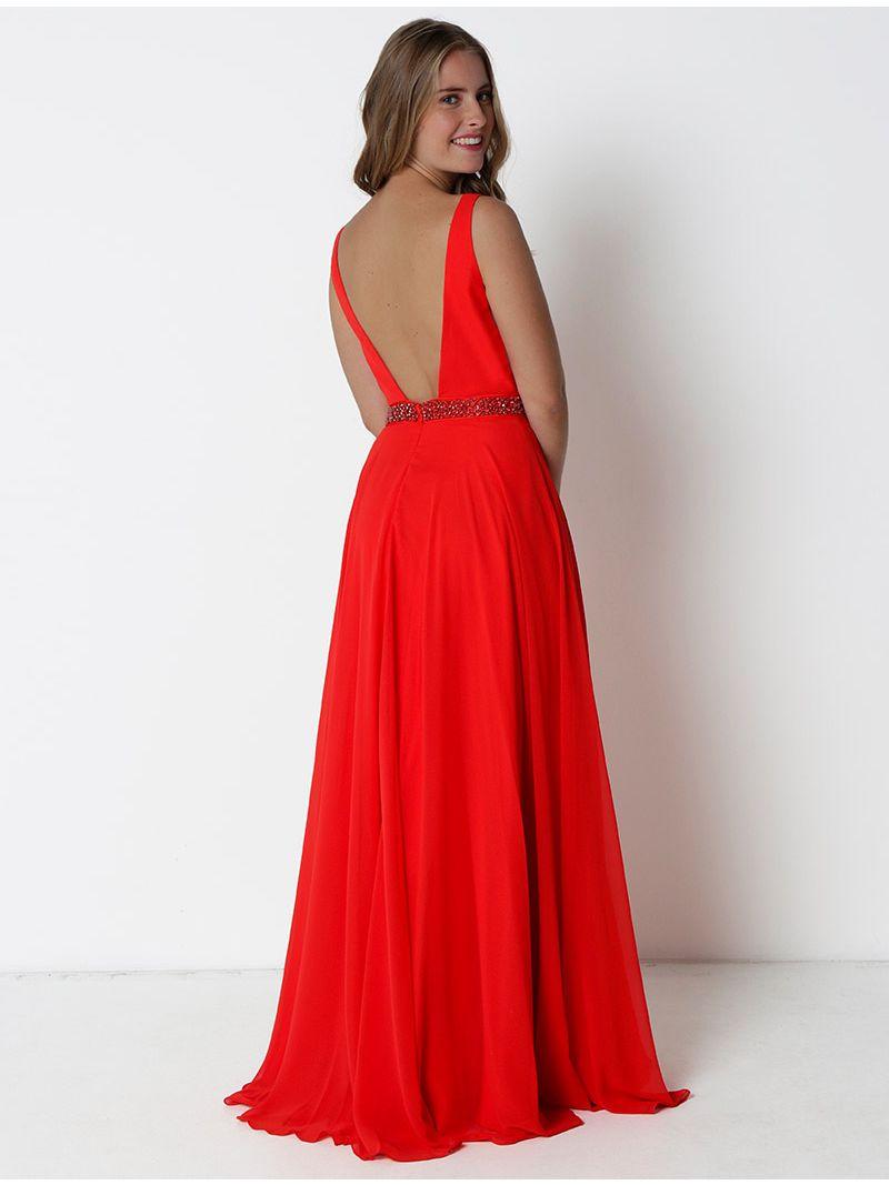 Robe de soirée longue décolleté plongeant et strass - rouge