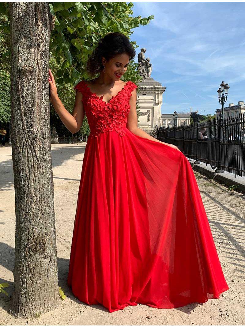 Robe de cérémonie brodée de fleurs - rouge