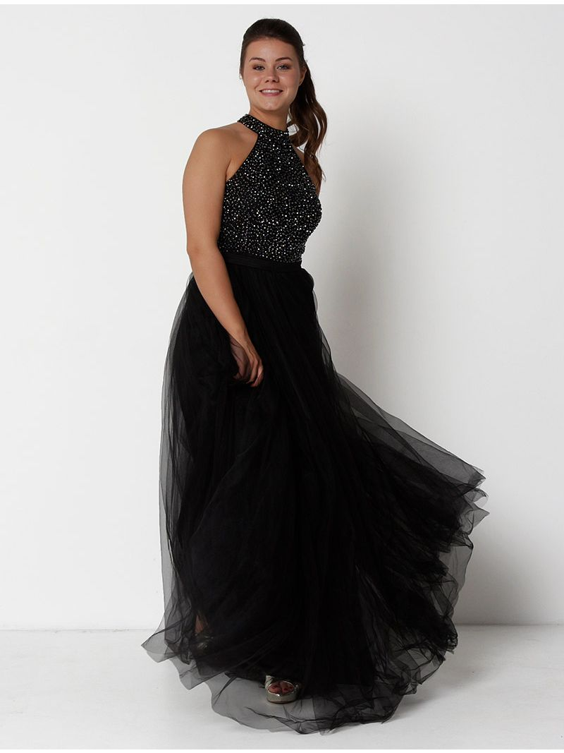 Robe de soirée à strass - noir