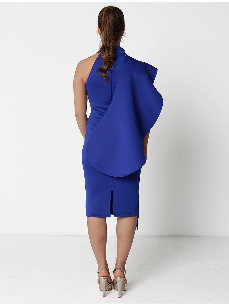 Robe de soirée asymétrique - bleu roi
