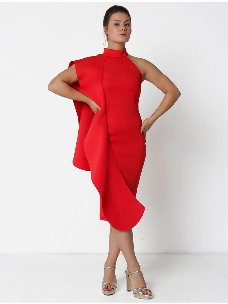 Robe De Soiree Asymetrique Rouge Anne Sophie