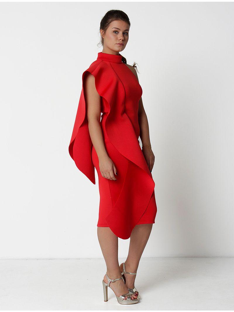 Robe de soirée asymétrique - rouge