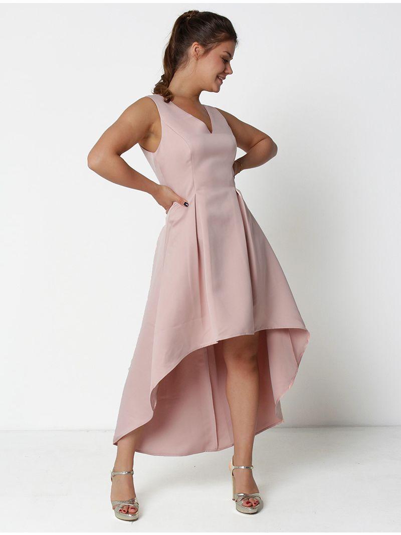 Robe courte asymétrique - rose pâle