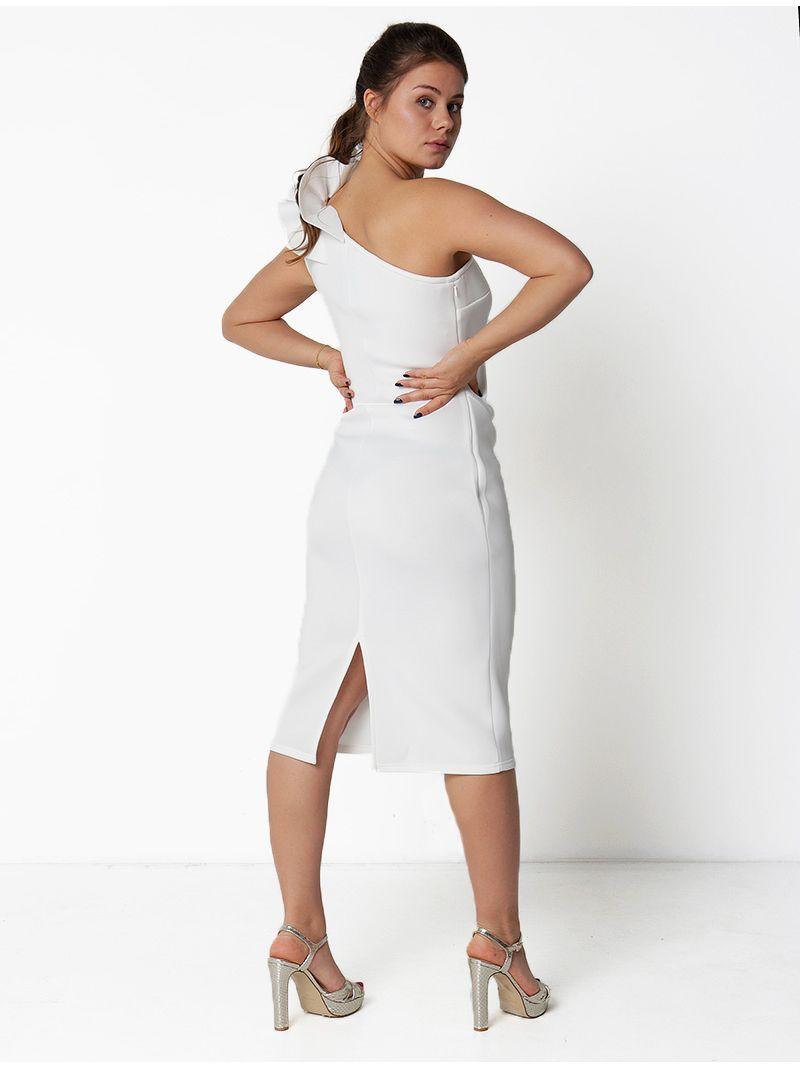 Robe de soirée mi-longue épaule dénudée - blanc