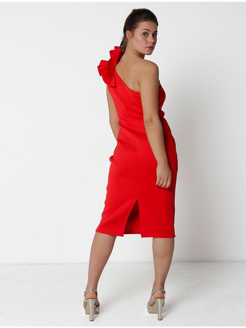Robe de soirée mi-longue épaule dénudée - rouge