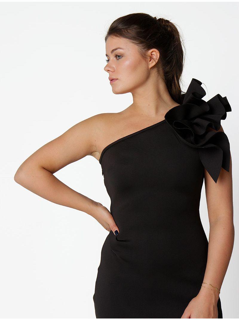 Robe de soirée mi-longue épaule dénudée - noir