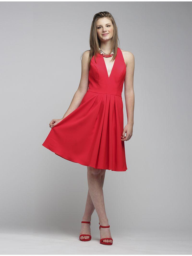 3a6dcd7078f8e4 Korte jurk met diepe v-hals en open rug