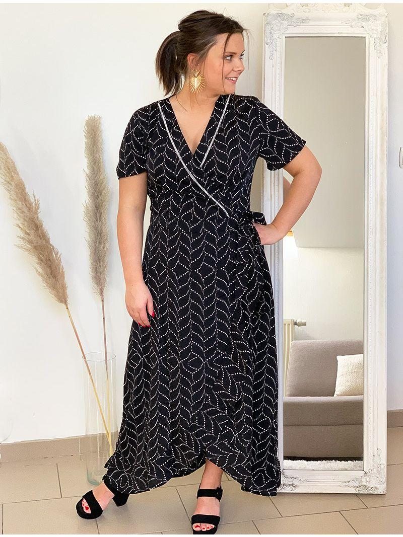 Robe longue à motifs et manches courtes - Noir