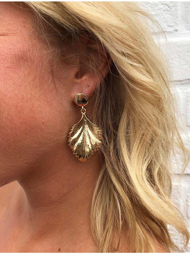 Boucles d'oreille feuille - Doré