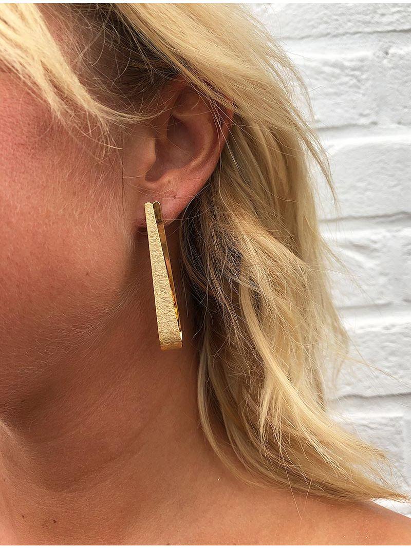 Boucles d'oreille gouttes texturé - Doré
