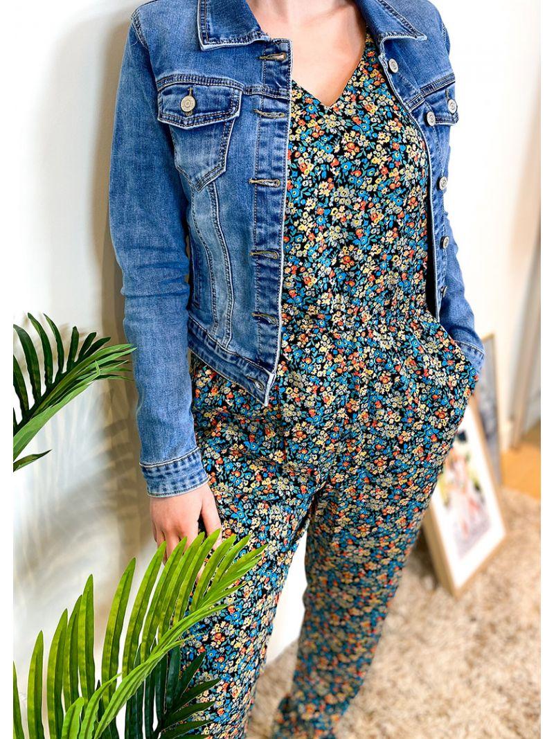 Jumpsuits à fleurs - Bleu