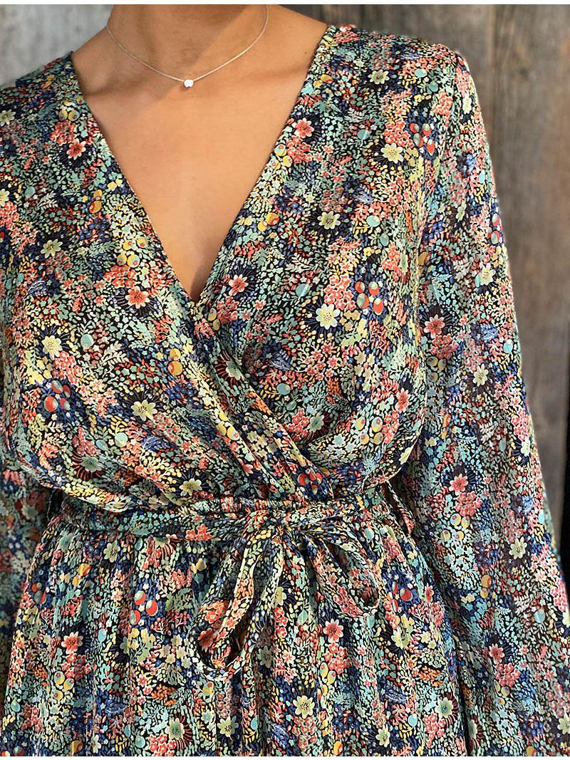 Robe courte fleurie cache-coeur avec manches - Vert