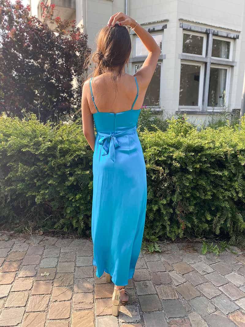 Robe de soirée fendue en soie - Turquoise