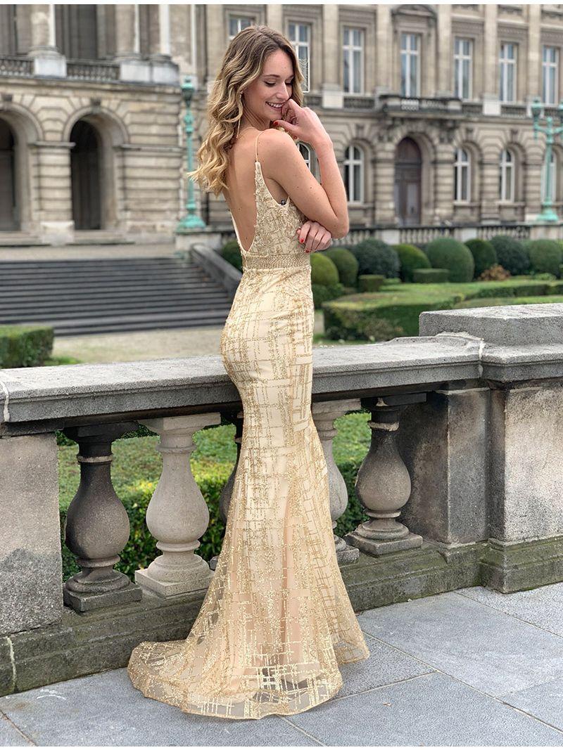 Robe longue avec motifs pailletés - Doré