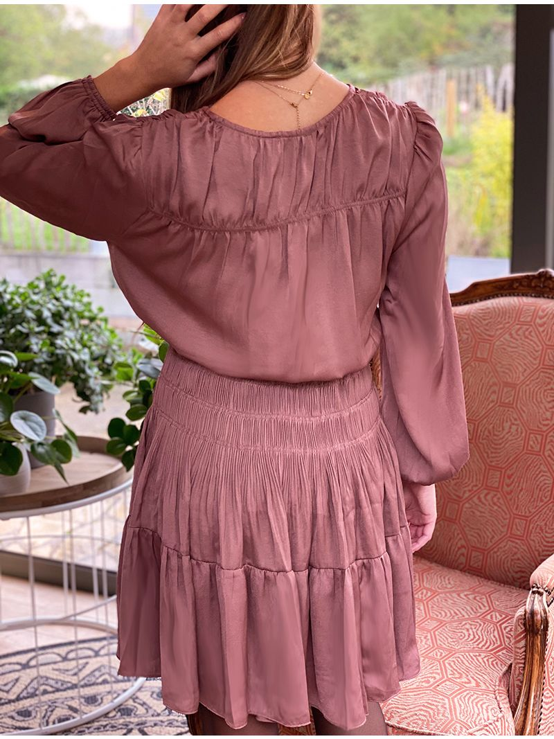 Robe courte manches longues - Rose