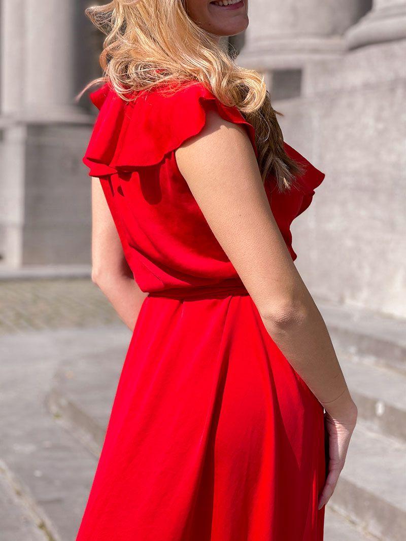 Robe longue cache cœur - Rouge