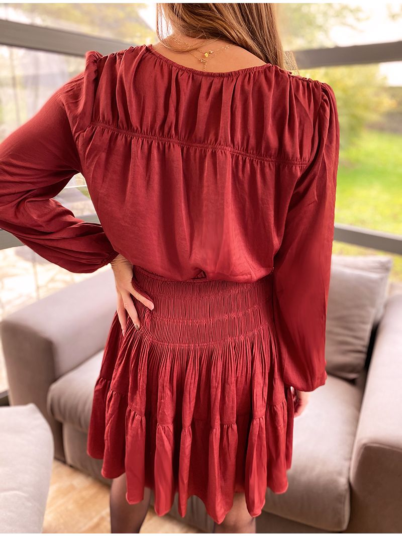 Robe courte manches longues - Rouge