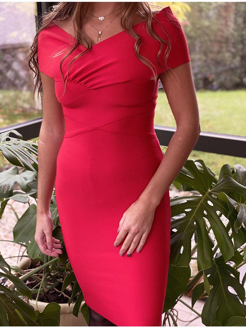 Robe courte à épaules dénudées - Rouge