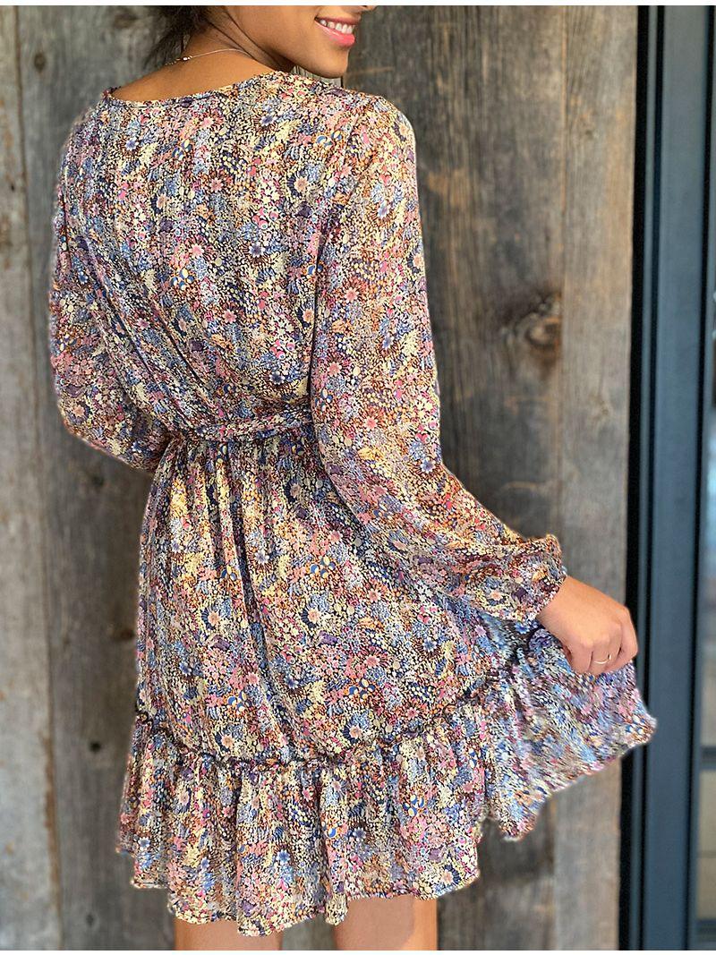 Robe courte fleurie cache-coeur à manches - Rose