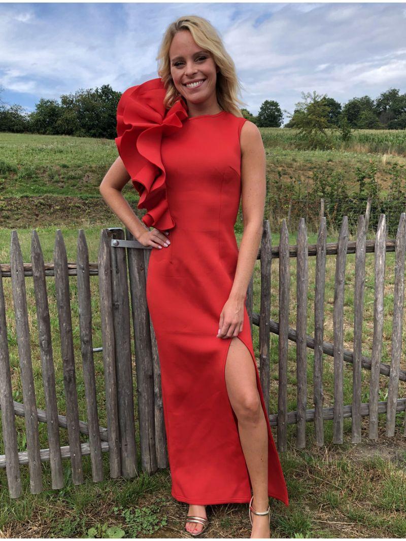 Robe de soirée longue épaule asymétrique - rouge