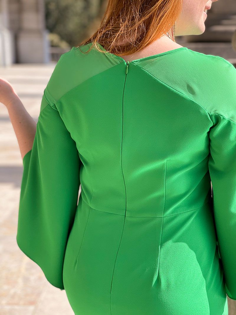 Robe courte avec manches amples - Verte