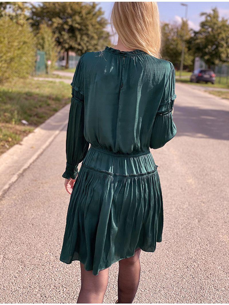 Robe courte satinée - Vert