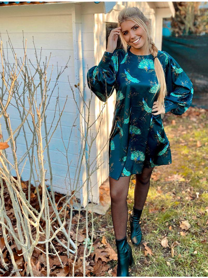 Robe soyeuse à motifs paons - Bleu pétrole