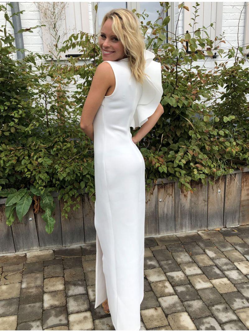 Robe de soirée longue épaule asymétrique - blanc