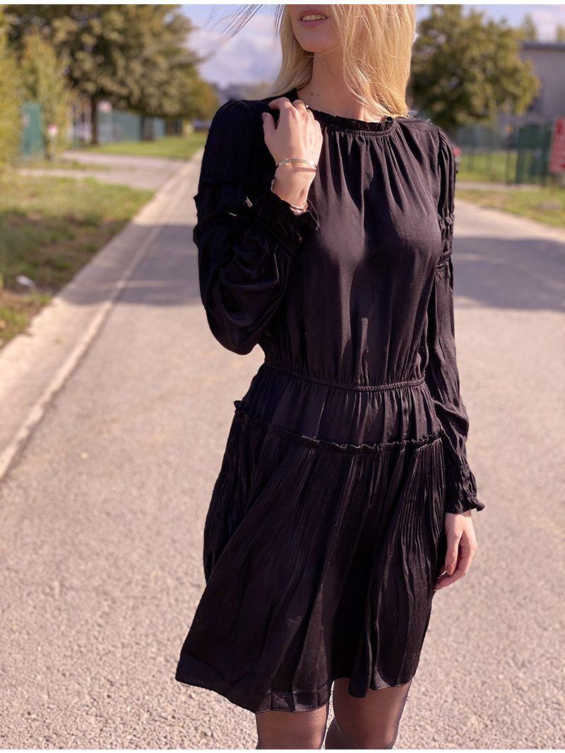 Robe courte satinée - Noir
