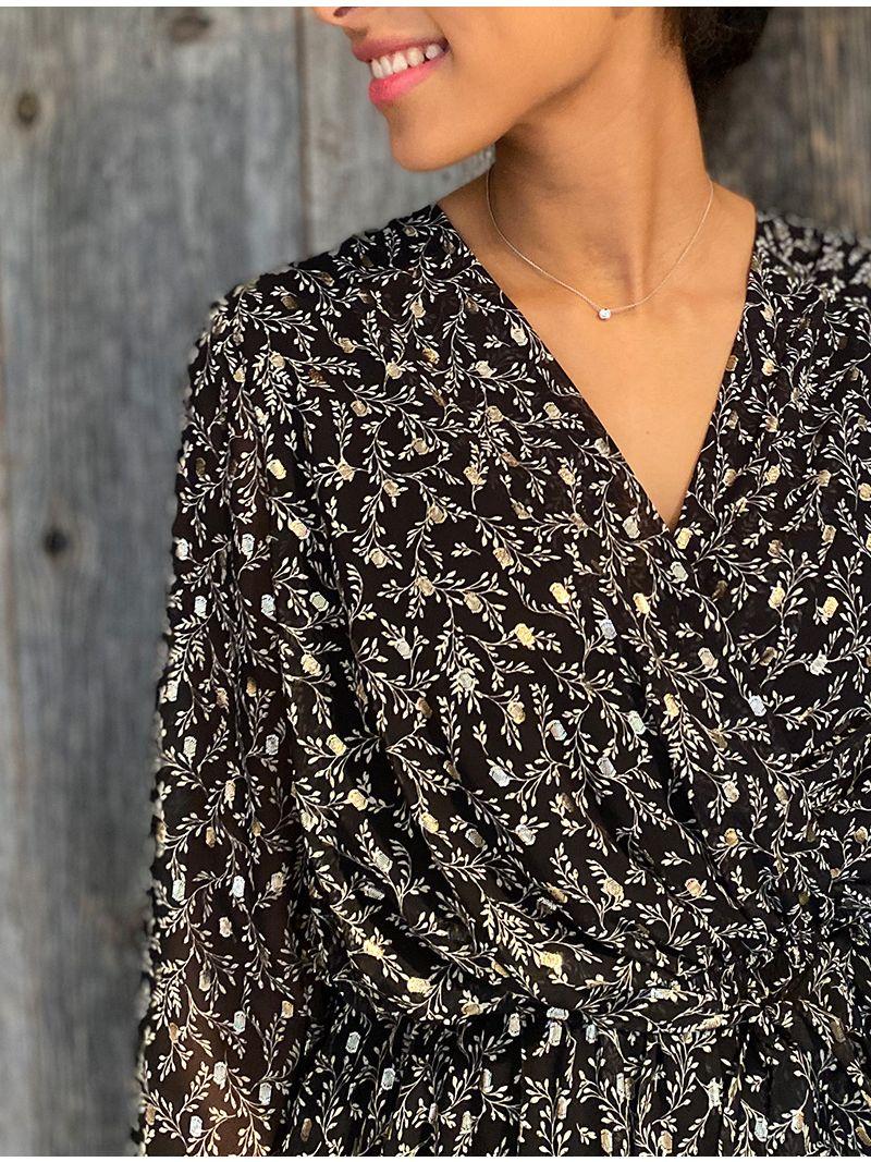 Robe courte fleurie cache-coeur à manches - Noir