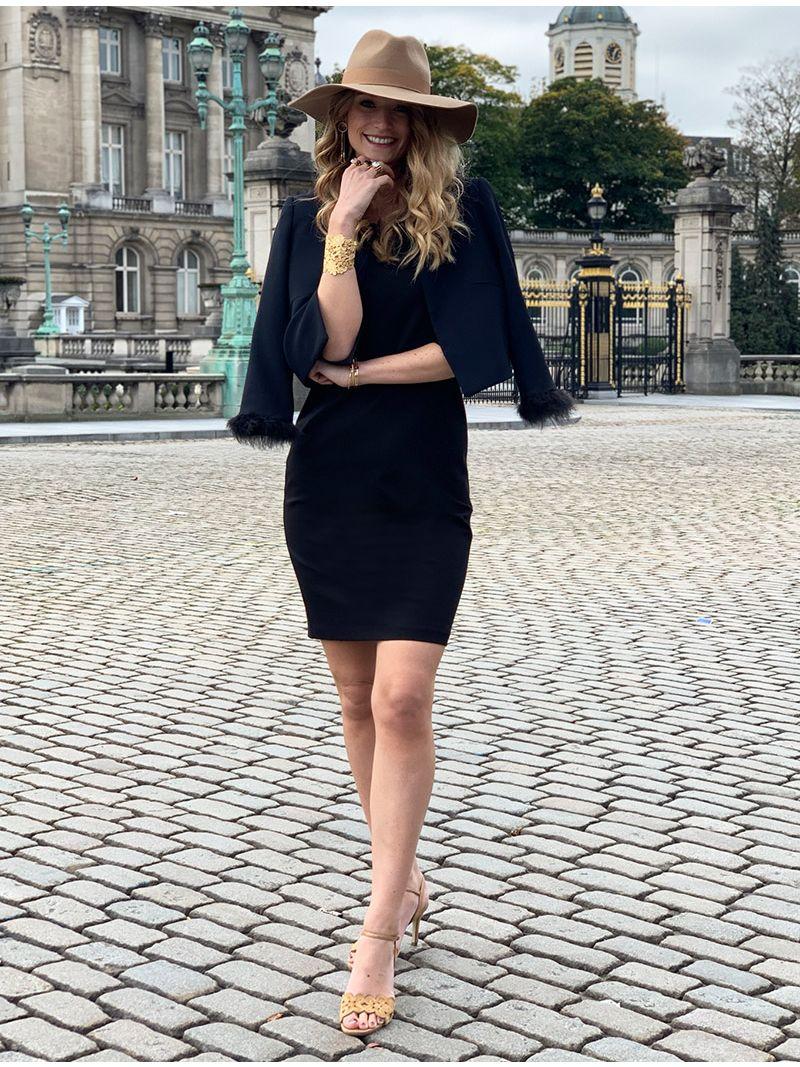 Robe mi-longue avec manches - noir