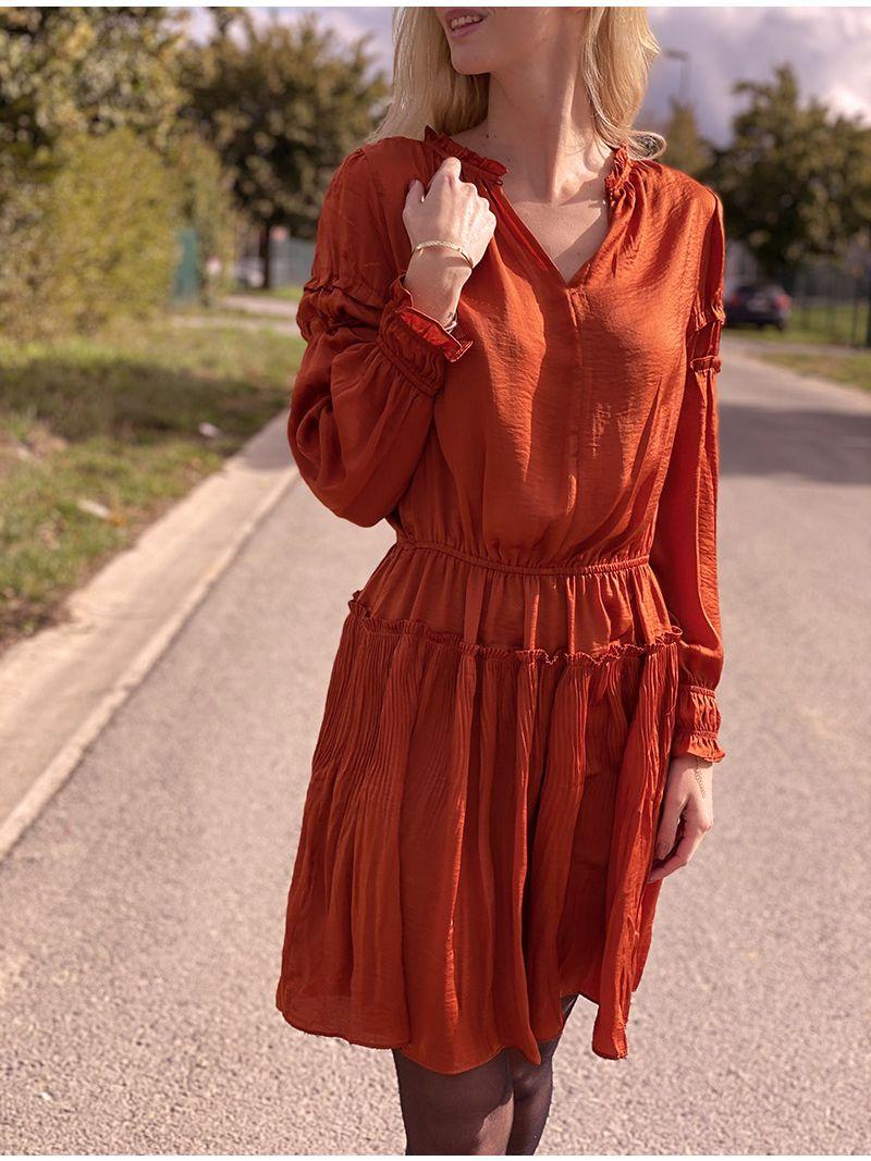 Robe courte satinée - Orange