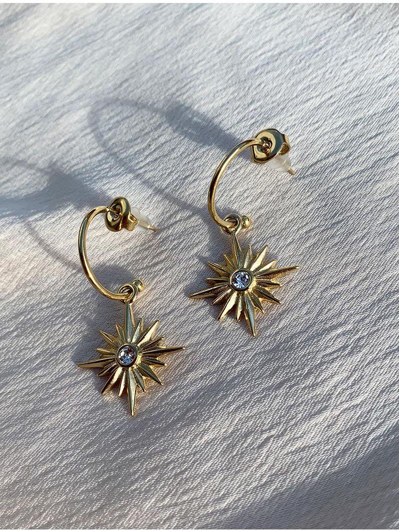 Petites boucles d'oreilles avec perle et strass - Doré