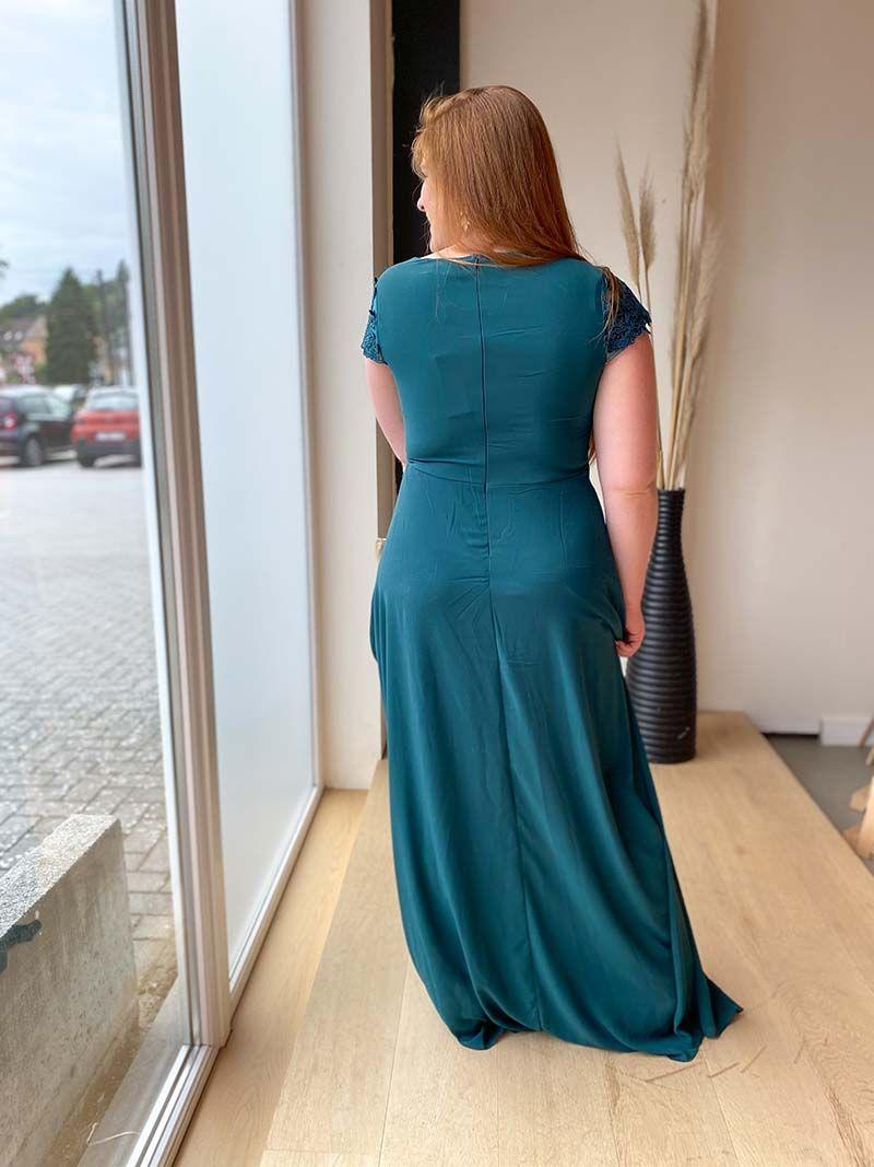 Robe longue avec décolleté transparent - Vert
