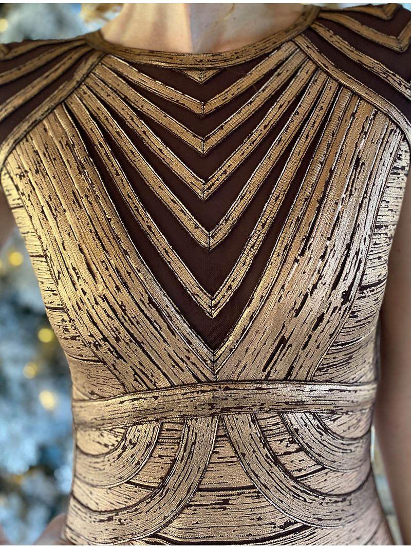 Robe courte moulante à motifs - Bronze