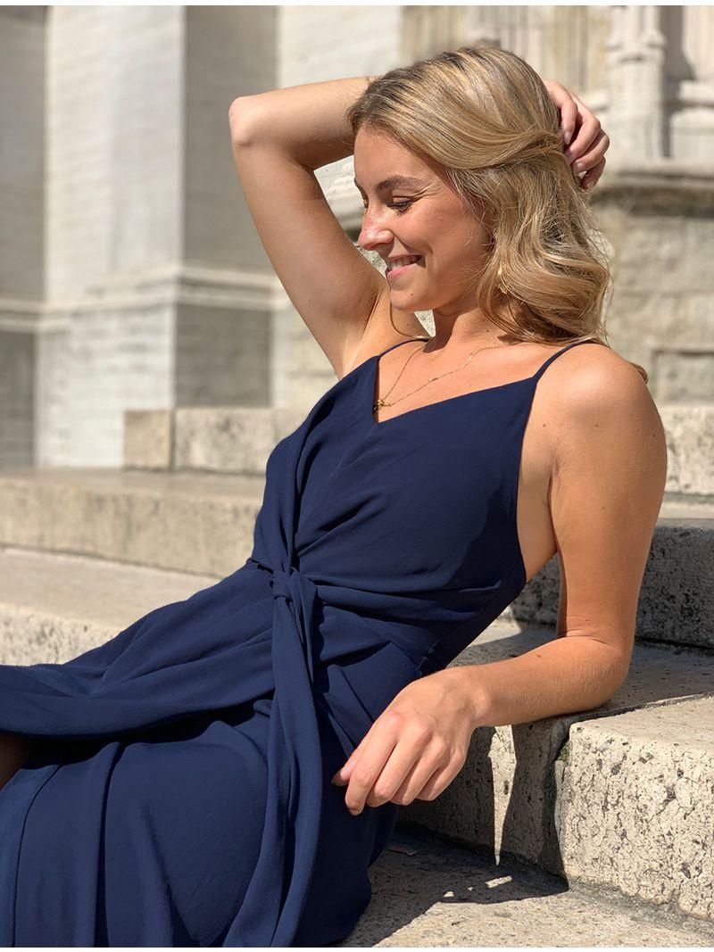 Robe de soirée en soie avec fente - Bleu Marine