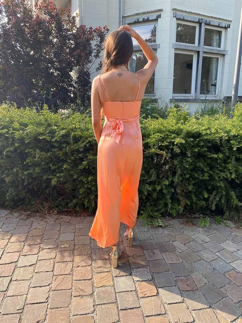 Robe de soirée fendue en soie - Orange