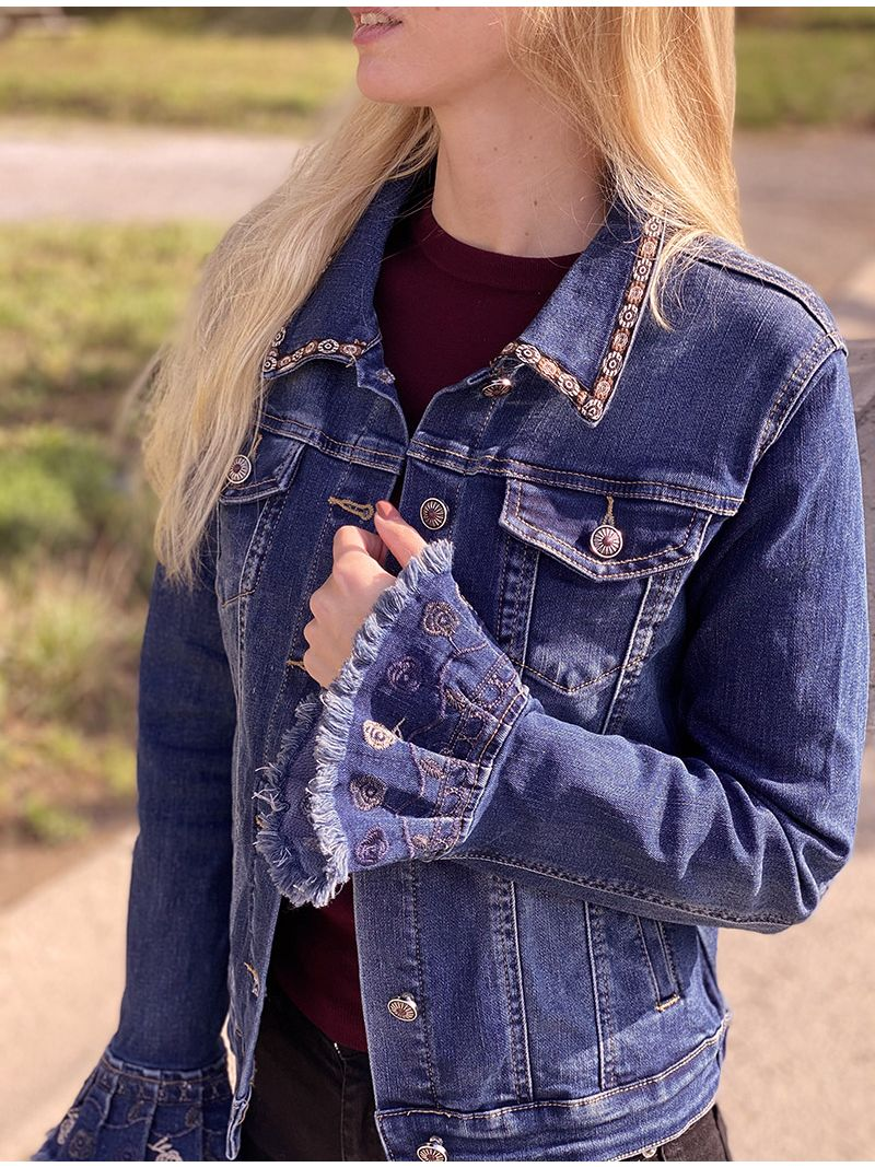 Veste en jeans dos à strass - Bleu